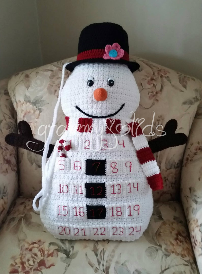 Snowman Countdown Pillow Crochet Pattern
