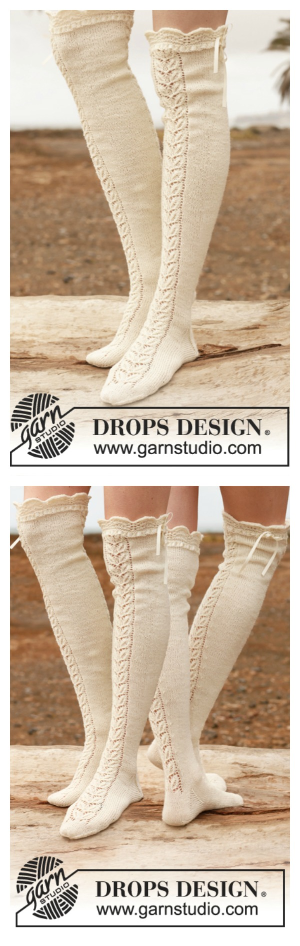 Stockings with Lace Free Knitting Pattern