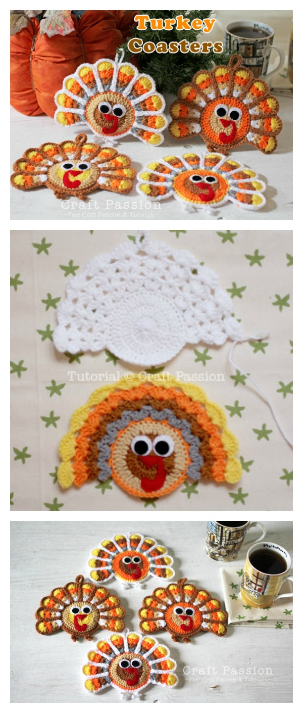 Turkey Coasters Free Crochet Pattern