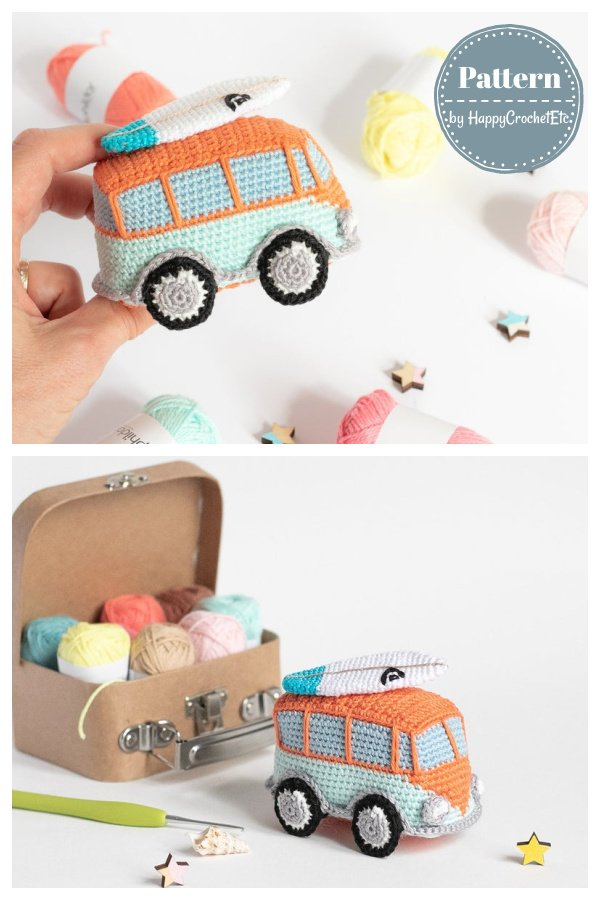 Amigurumi Camper Bus Vintage Vehicle Toy Crochet Pattern