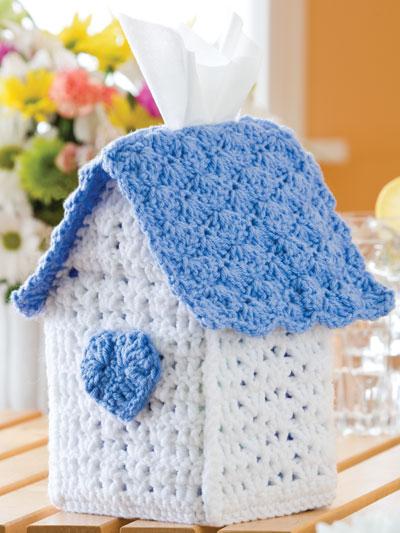 Birdhouse Tissue Box Free Crochet Pattern