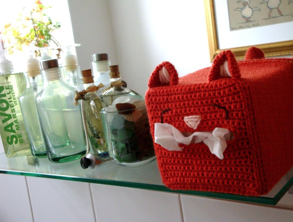Cat Tissue Box Cover Free Crochet Pattern