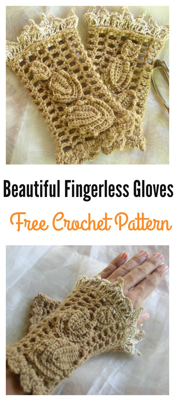 Crochet BeautifulFingerless Gloves Free Pattern
