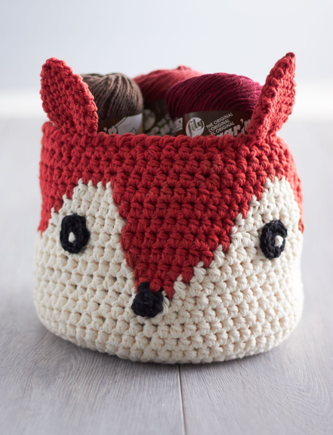 Crochet Cream Foxy Stash Basket Free Pattern