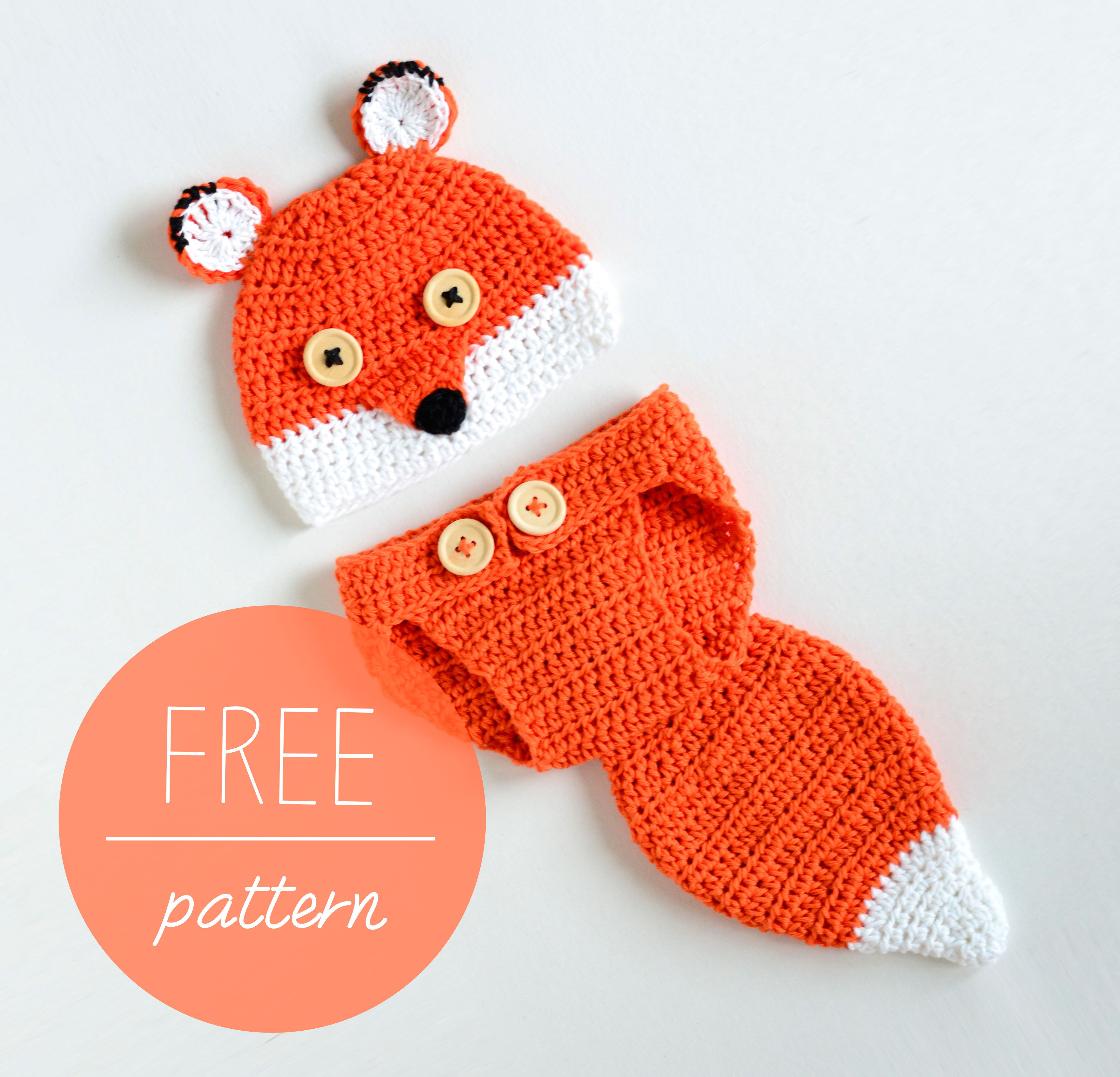 Crochet Cute Fox Baby Hat and Diaper Cover Free Pattern - Cool ...