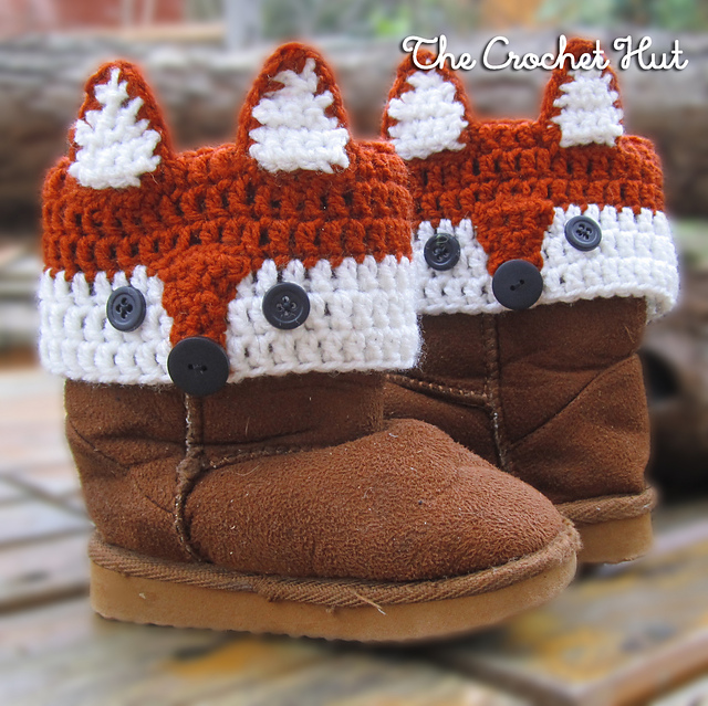 Crochet Fox Kids Boot Cuffs Pattern