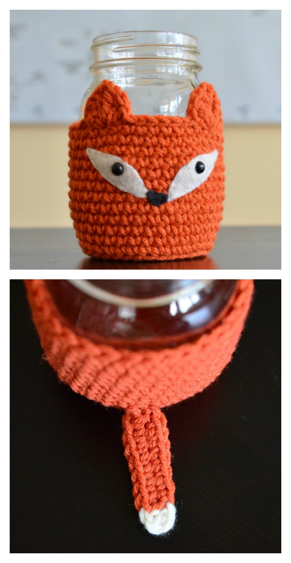 Crochet Fox Mason Jar Cosy Free Pattern