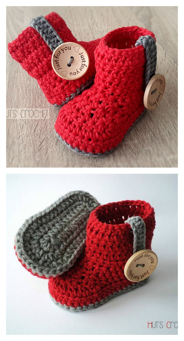 Crochet Huts Amore Baby Boots Free Pattern
