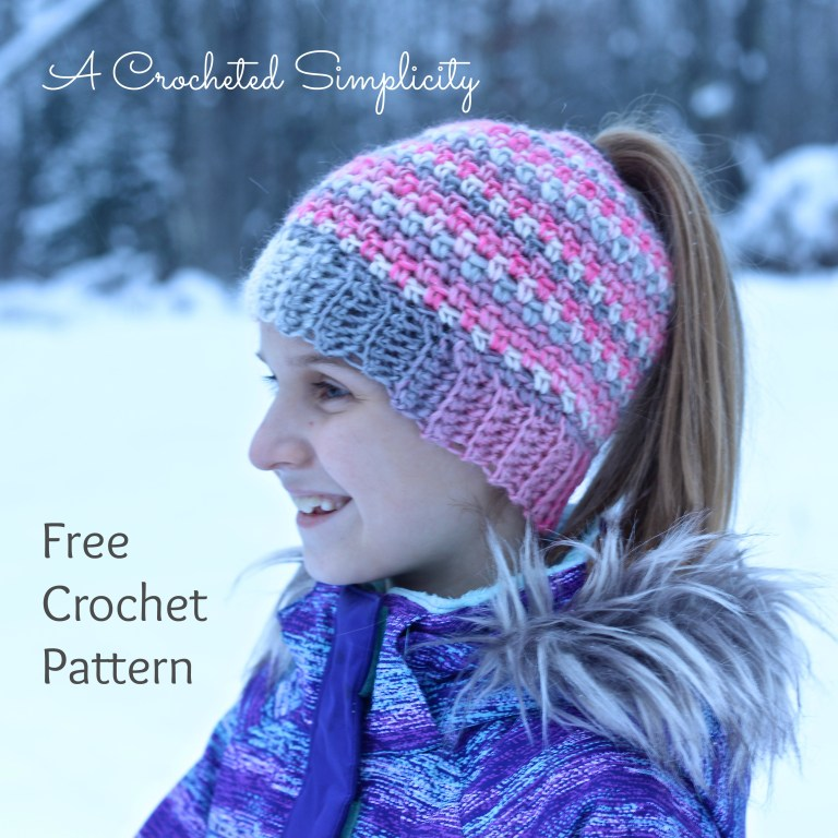 Crochet Linen Stitch Messy Bun / Ponytail Hat Free Pattern