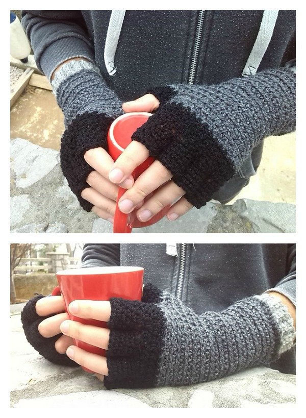 Crochet Men's Fingerless Knight Gloves Free Pattern