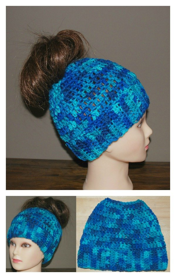 Crochet Messy Bun Hat Free Pattern and Video Tutorial