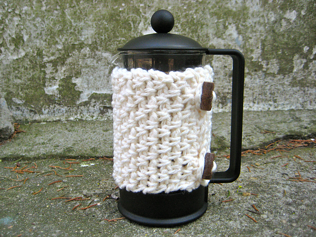 Crochet Mock Weave French Press Cozy Free Pattern