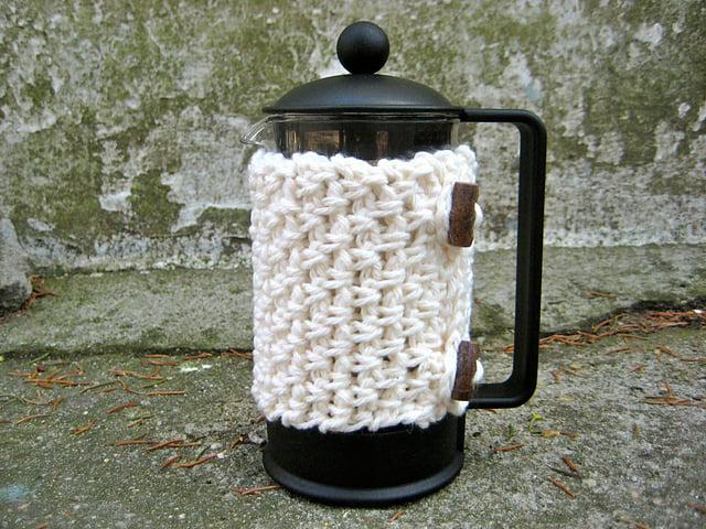 Crochet Mock Weave French Press Cozy Free Pattern
