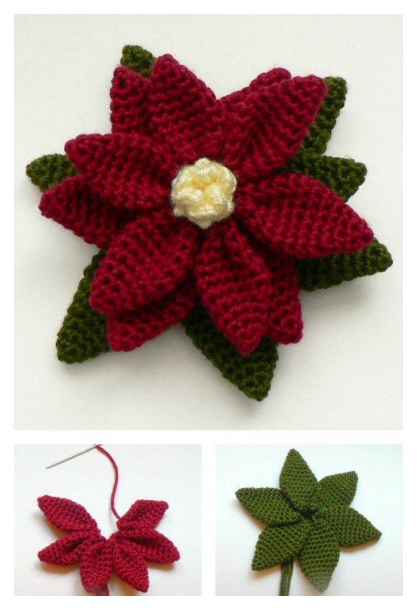 Free Crochet Patterns For Christmas Flowers : Crochet Poinsettia Flower Free Patterns
