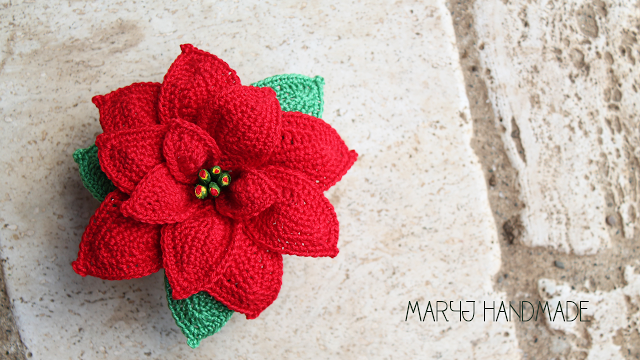 Crochet Poinsettia Flower Free Patterns