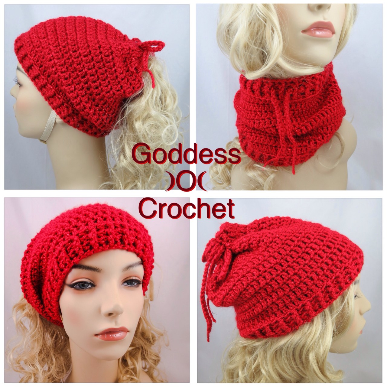 Crochet Ponytail Hat Neckwarmer Free Pattern