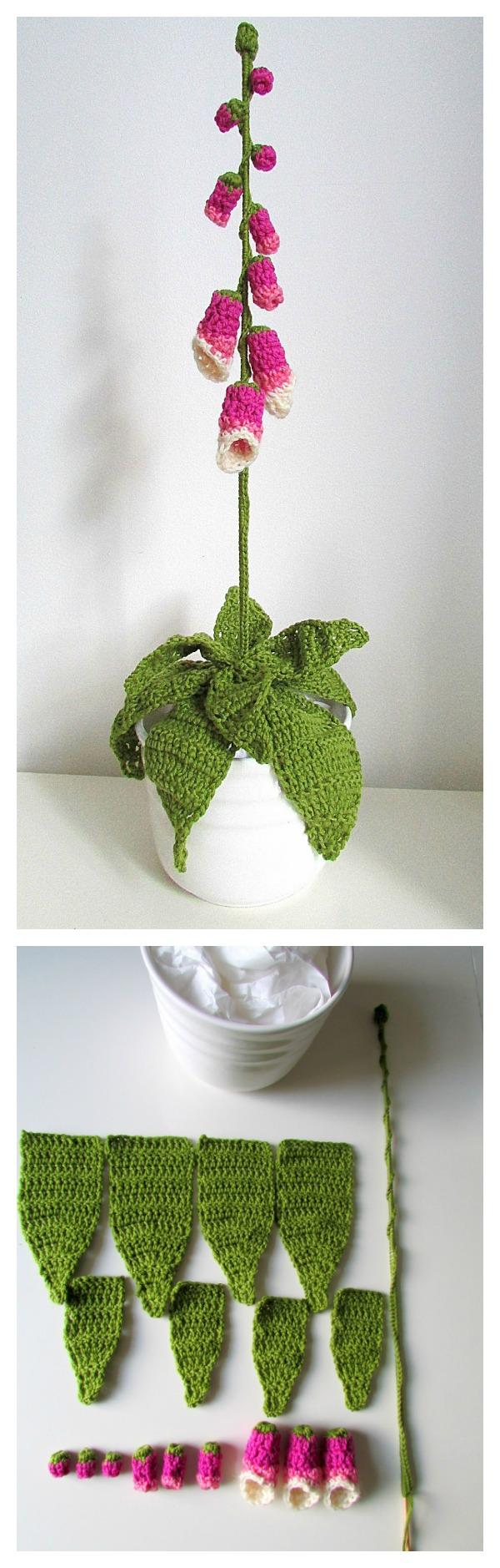Crochet pretty flower free patterns crochet pretty foxglove flower free pattern mightylinksfo