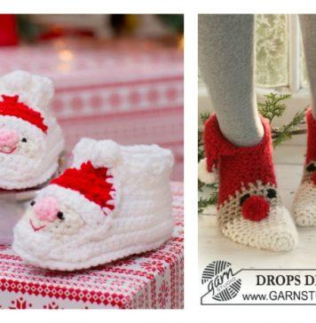 Crochet Santa Claus Slipper Patterns