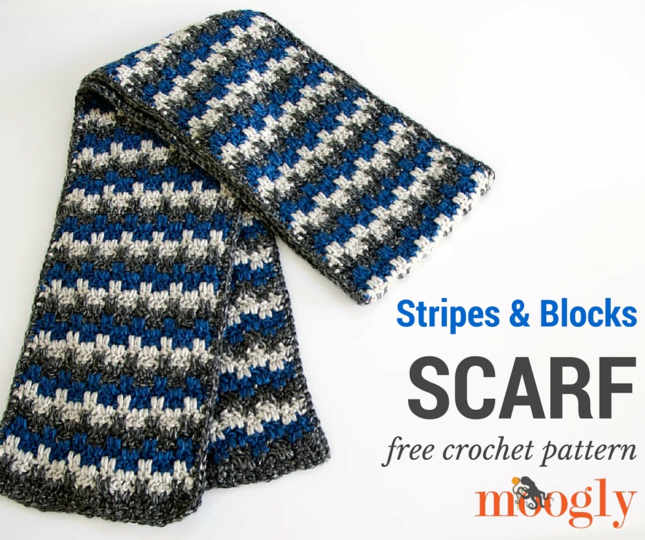 Crochet Stripes and Blocks Scarf Free Pattern