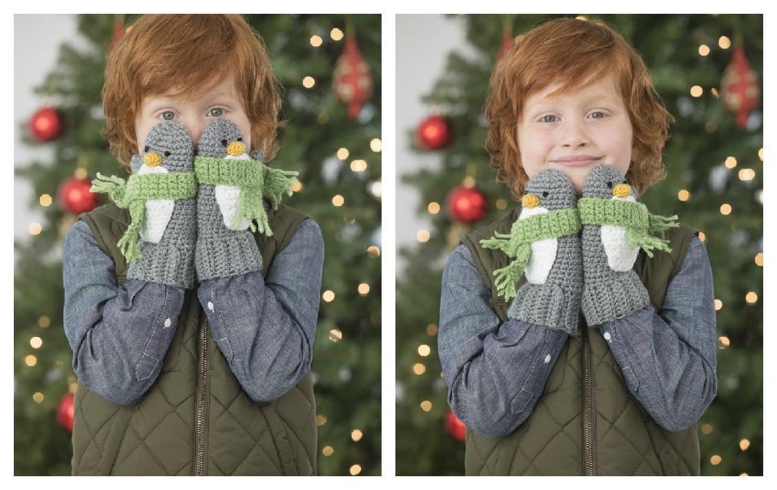 Cute Penguin Mittens Free Crochet Pattern