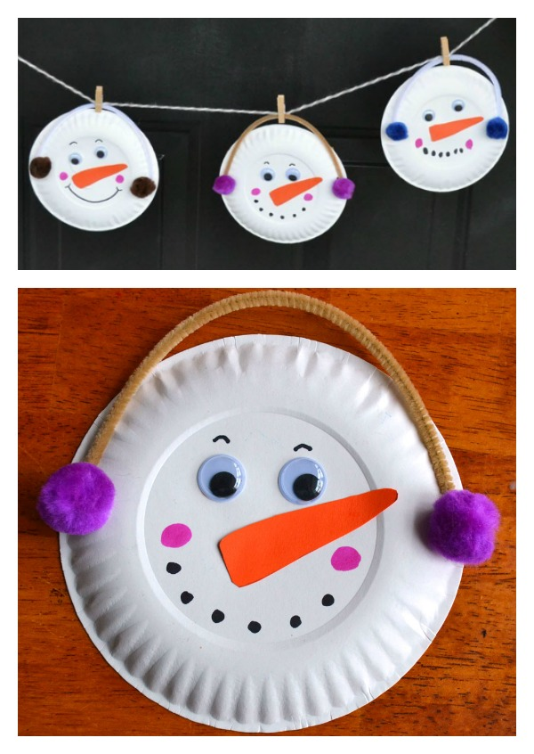 DIY Paper Plate Snowman Garland--Holiday Craft