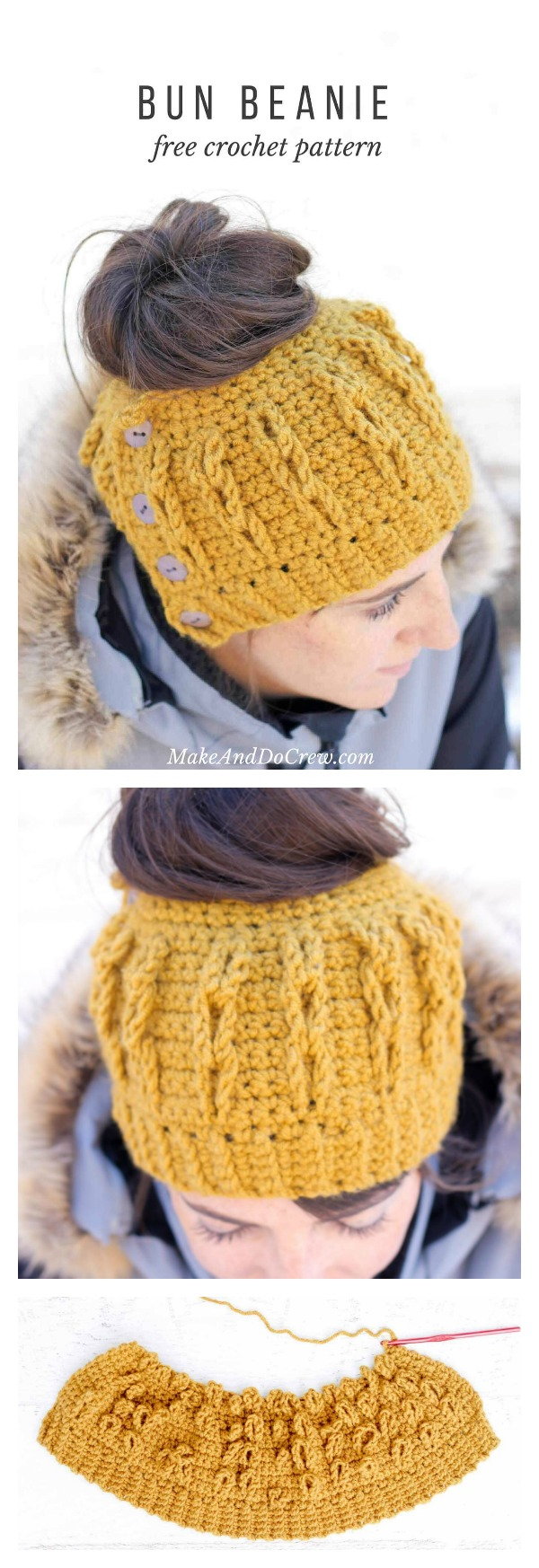 Faux Cabled Crochet Bun Beanie Free Pattern and Video Tutorial
