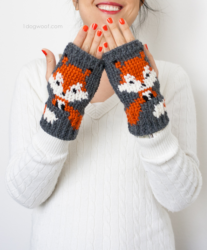 Foxy Fingerless Gloves Free Crochet Pattern