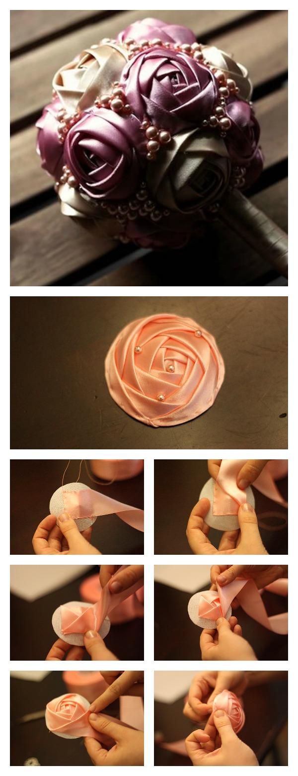 How to easy Handmade Ribbon Rose