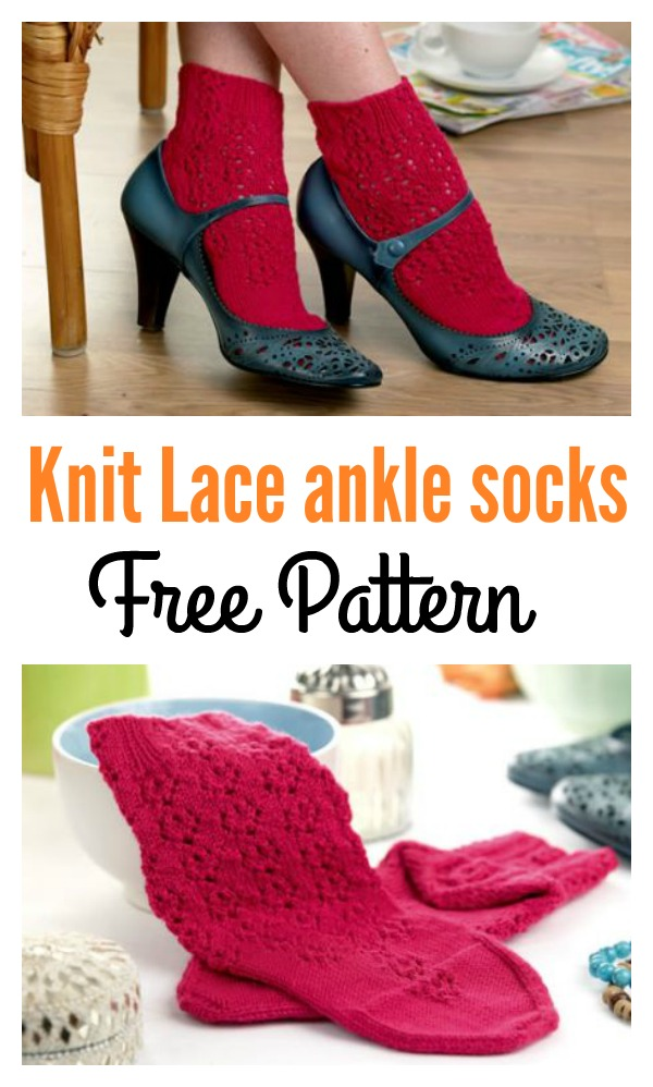 Knit Lace Ankle Socks Free Pattern Cool Creativities
