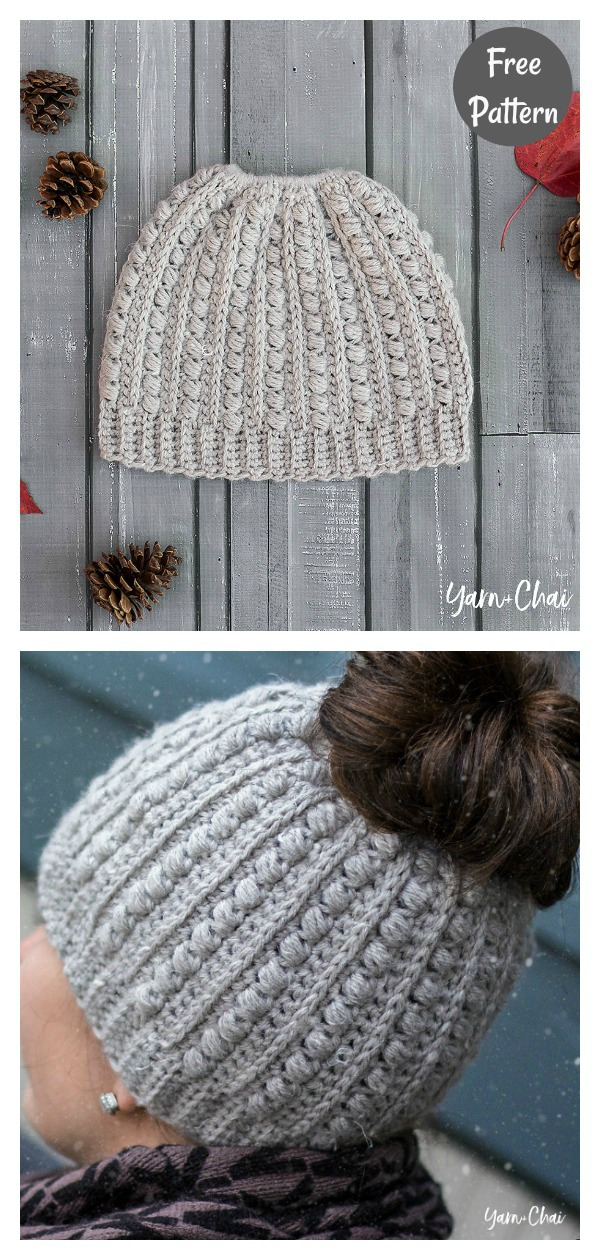 Malia Messy Bun Beanie Hat Free Crochet Pattern