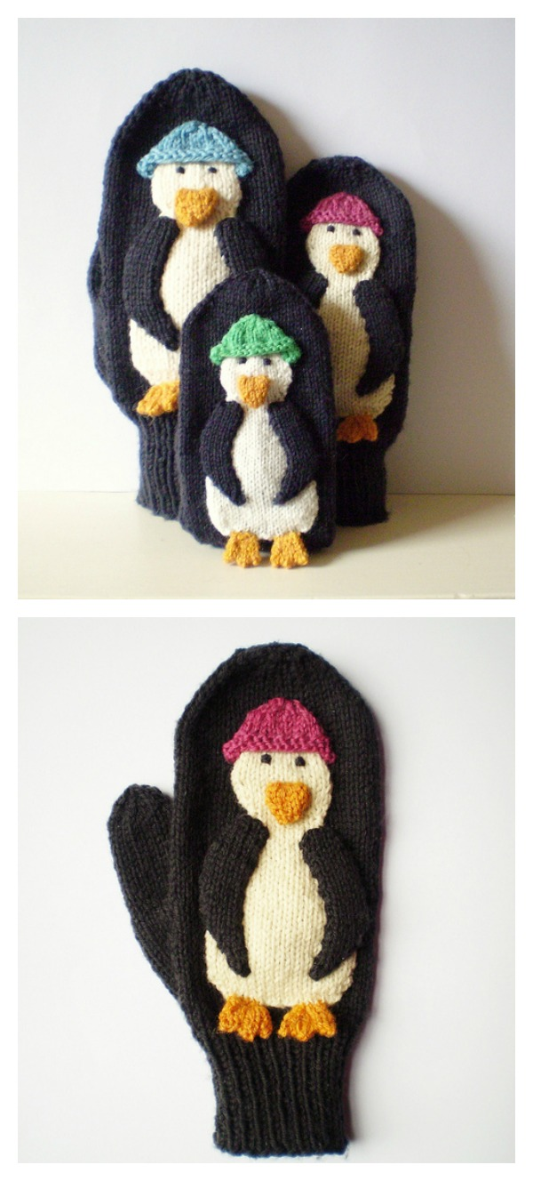 Penguin Mittens Free Knitting Pattern