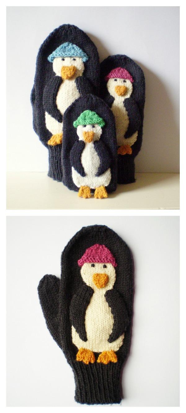 Penguin Mittens Free Knitting Pattern
