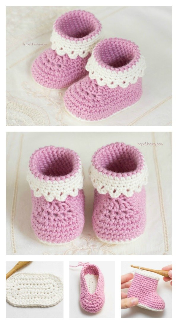 Pink Lady Baby Booties Free Crochet Patterns