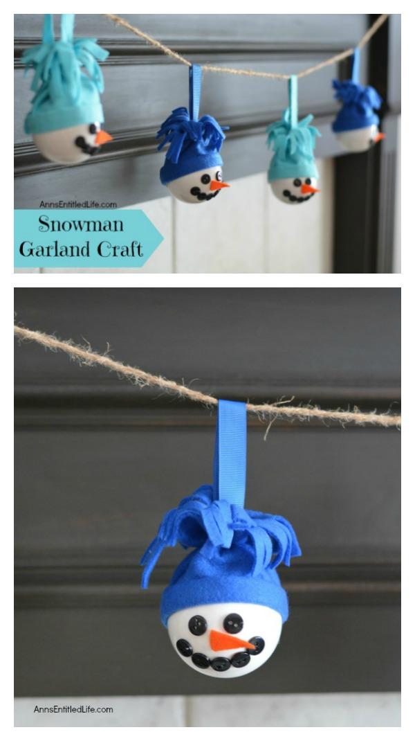 Snowman Garland Craft Made with Ceramic Christmas Bulbs