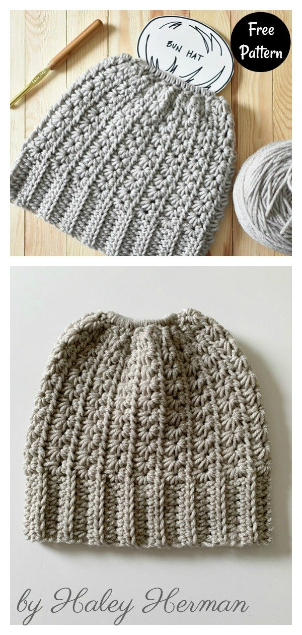 Star Stitch Bun Hat Free Crochet Pattern