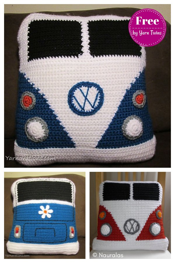 VW Van Pillow Free Crochet Pattern