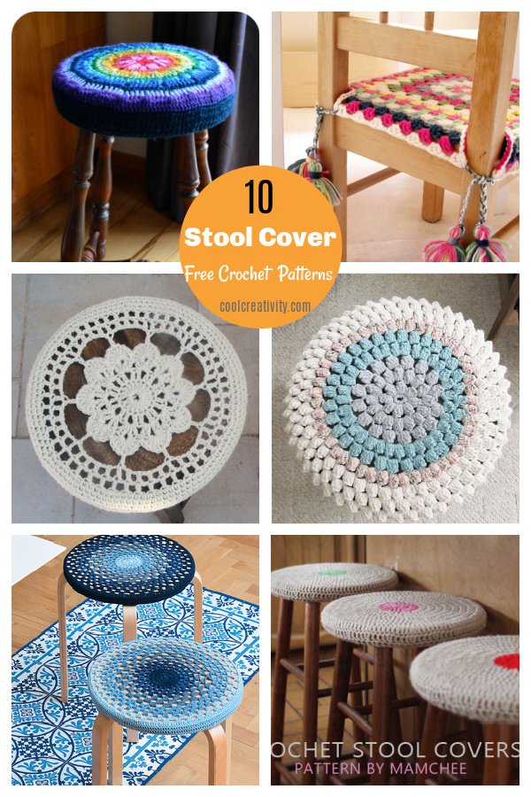 10 Stool Cover Free crochet Patterns