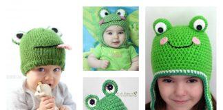 frog hat free knitting crochet patterns