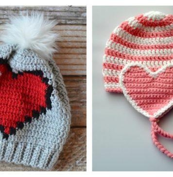 5 Adorable Crochet Heart Hat Free Patterns