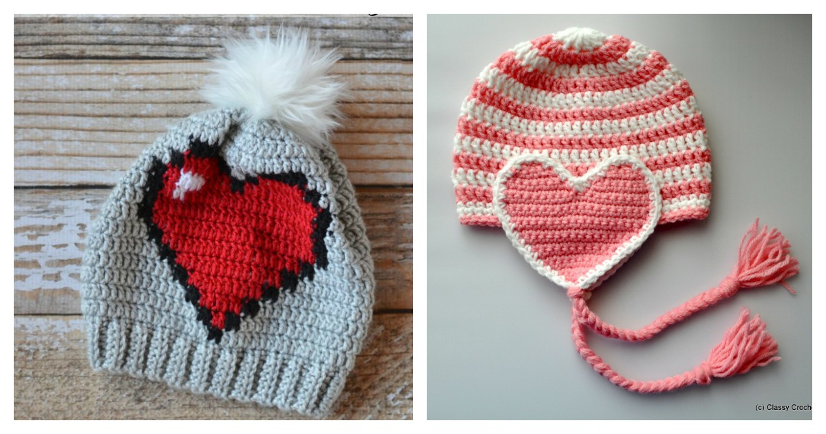 Adorable Crochet Heart Hat Free Patterns
