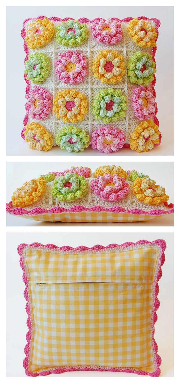 Crochet Bobble Stitch Blooming Garden Lily Pad Pillow