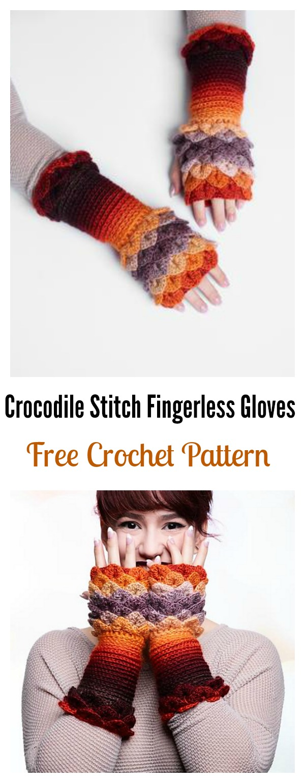 Crochet Crocodile Stitch Fingerless Gloves Free Pattern