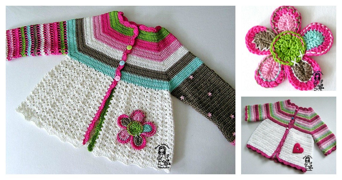 Crochet Flower Cardigan Sweater Free Pattern