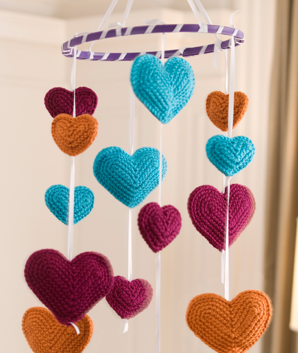 Crochet Flying Hearts Mobile Free Pattern