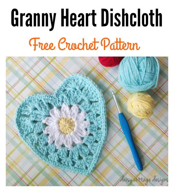 Crochet Granny Heart Dishcloth Free Pattern with Daisy Center