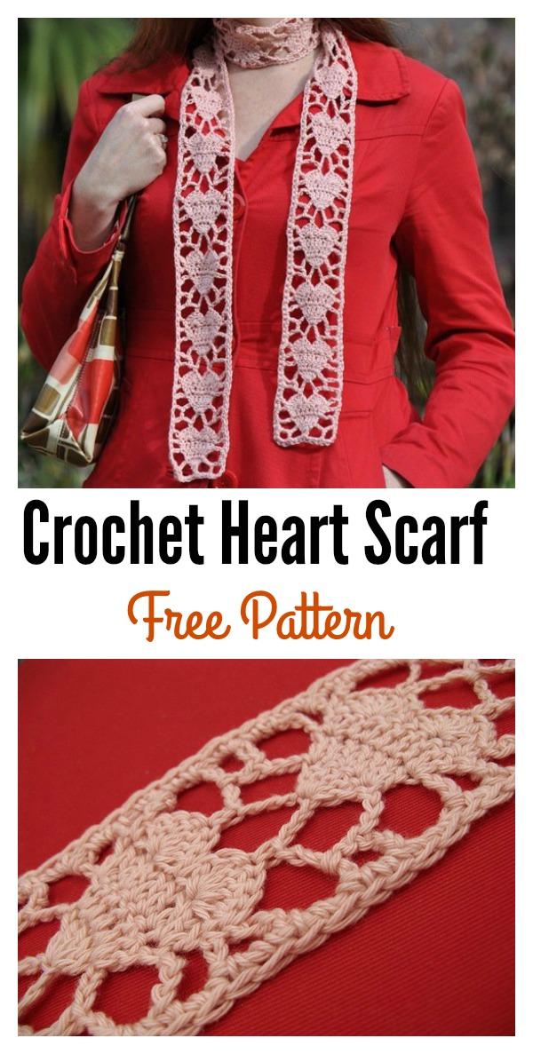 Crochet Heart Scarf Free Pattern
