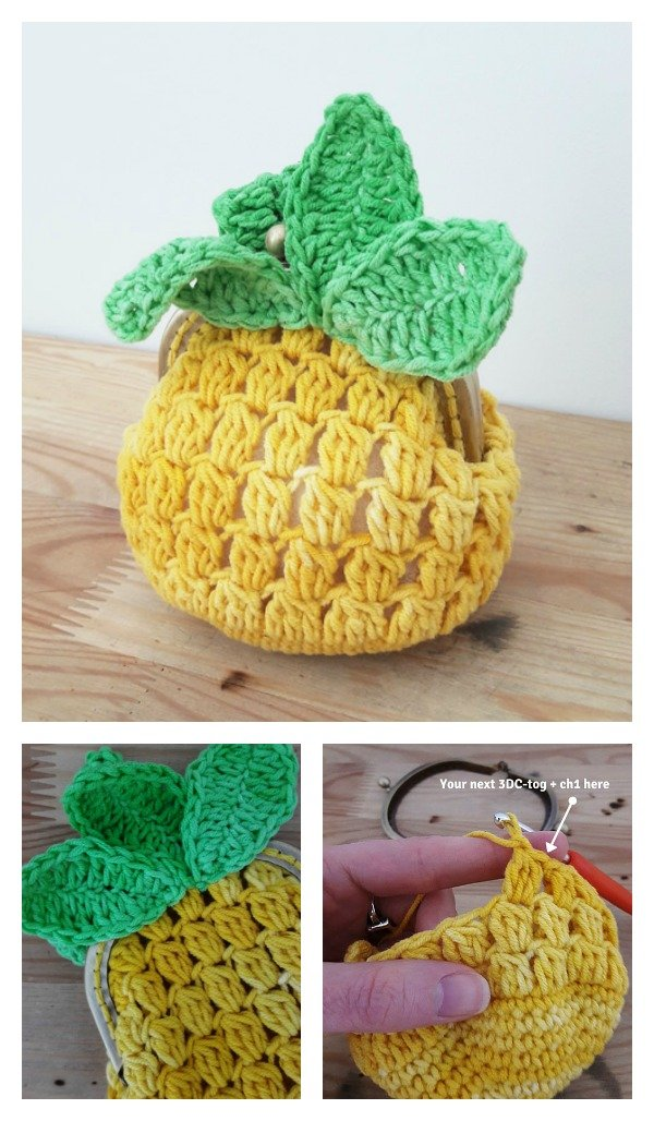 Crochet Pineapple Coin Purse Free Pattern