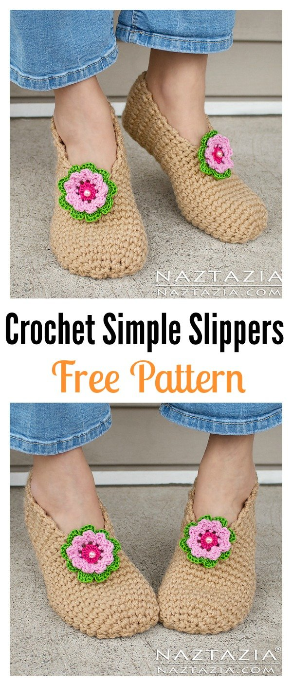 Crochet Simple Slippers Free Pattern and Video Tutorial - Cool ...