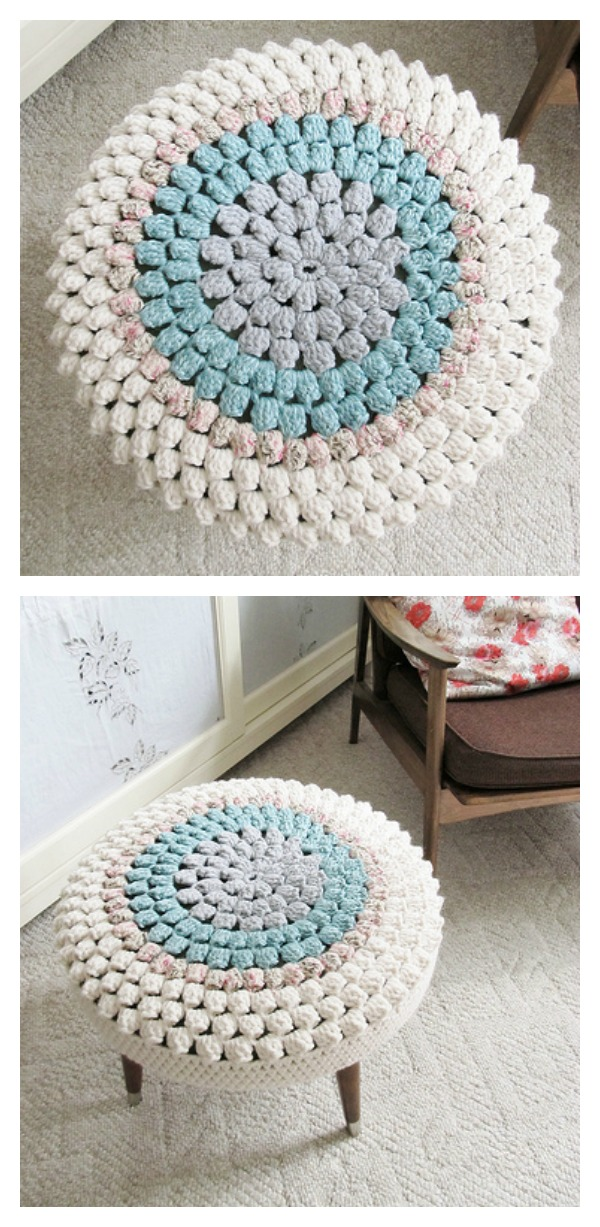 Crochet Stool Cover Free Pattern for Home