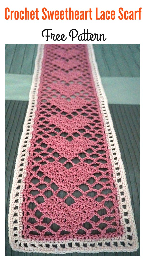 Crochet Sweetheart Lace Scarf Free Pattern Cool Creativities